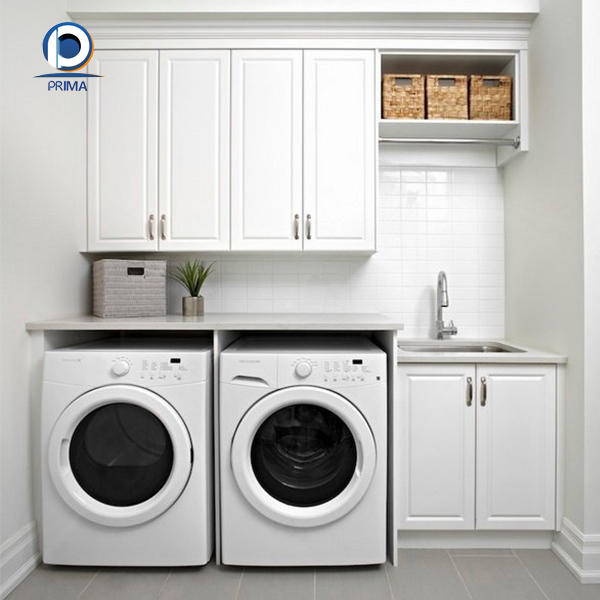 Laundry Cupboard Designs: Prima White Paint Finish Solid Wood Laundry Cabinet Design